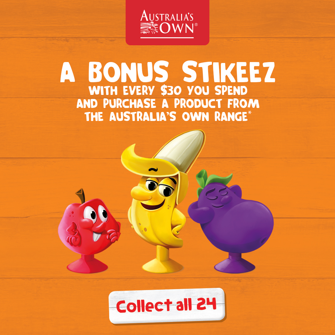 Collect a bonus Stikeez at Coles when you purchase any Australia's Own product